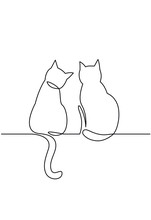 Continuous One Line Drawing Of Two Happy Cats Silhouettes.