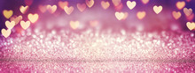 Pink Glitter In Shiny Background - Valentine's Day Concept