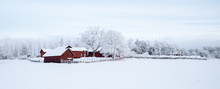 Farm Barn And House In A Cold ...
