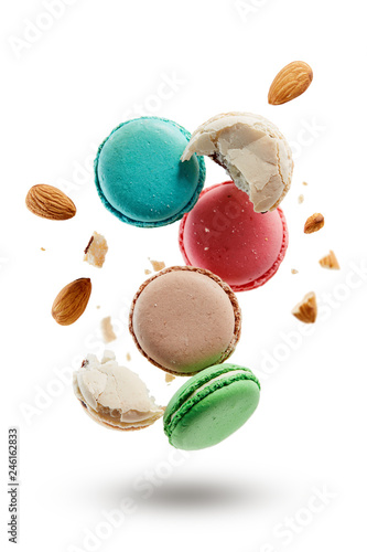 Canvas Prints Macarons French macarons with almonds crushed into pieces.