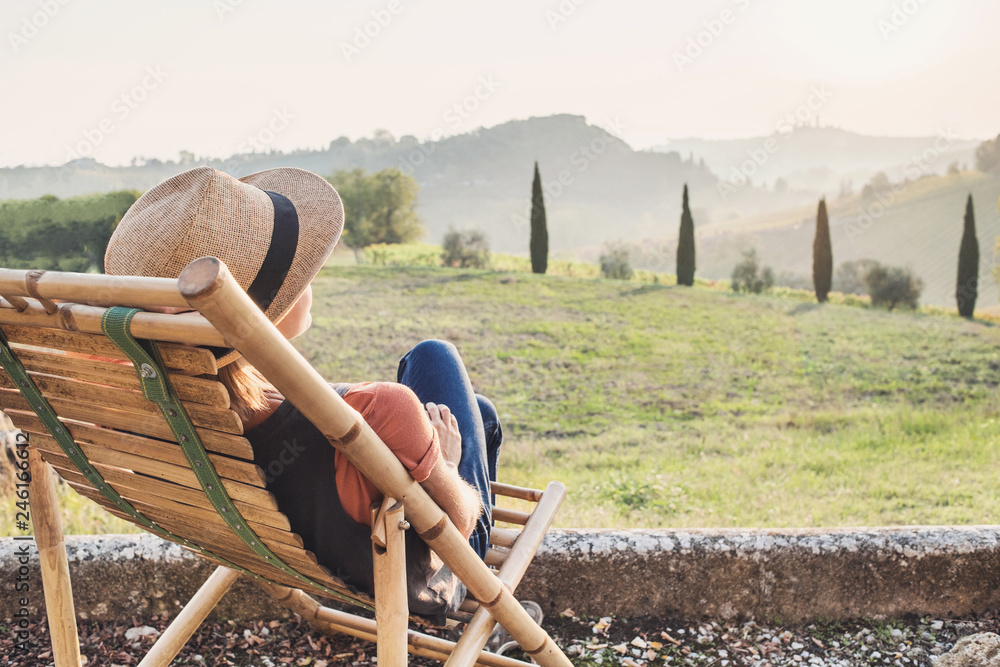 Fototapety, obrazy: Enjoying life. Young woman looking at the valley in Italy, relaxation, vacations, lifestyle, summer fun concept. Vacations in Italy