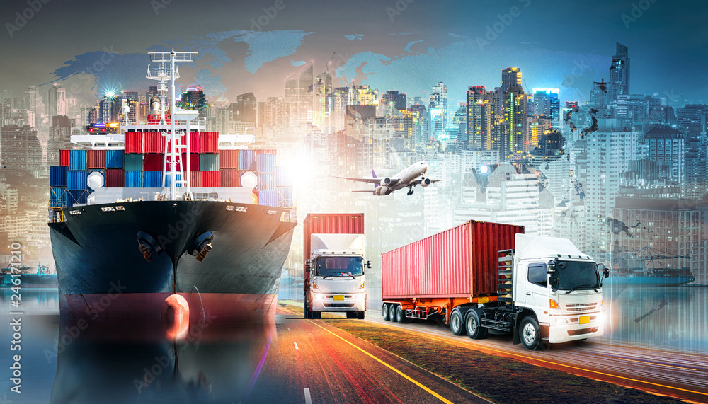 Fototapeta Global business logistics import export background and container cargo freight ship transport concept