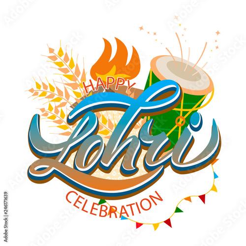 Fotografia, Obraz  Happy Lohri background for Punjabi festival celebration
