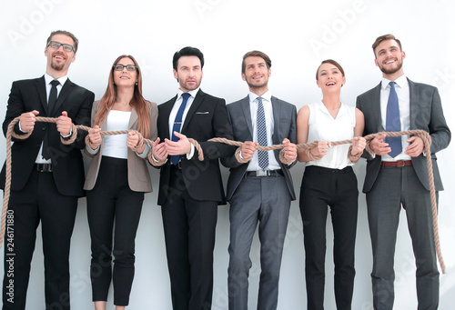 colleagues with wrists tied with a rope Canvas Print