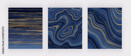 Set liquid marble texture. Blue and golden glitter ink painting abstract pattern. Trendy backgrounds for wallpaper, flyer, poster, card, invitations. Modern art.