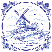 Landscape With A Windmill And ...