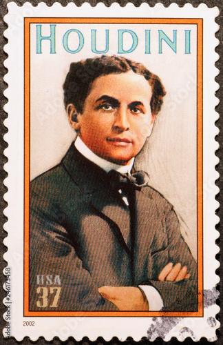 Fotografiet Illusionist Houdini on american postage stamp