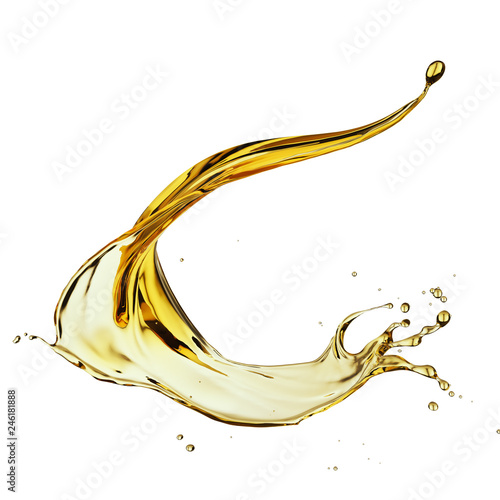 Olive or engine oil splash, cosmetic serum liquid isolated on white background, 3d illustration with Clipping path Wall mural