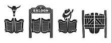 Saloon Icons Set. Simple Set O...