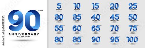 Obraz Set of anniversary logotype. Modern anniversary celebration icons. Design for company profile, booklet, leaflet, magazine, brochure, invitation or greeting card. - fototapety do salonu