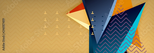 Vector 3d triangular shapes abstract background, origami futuristic template with lines - 246187489