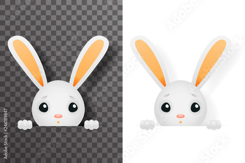 Isolated easter cute bunny rabbit hole paws design transparent background templa Fototapete