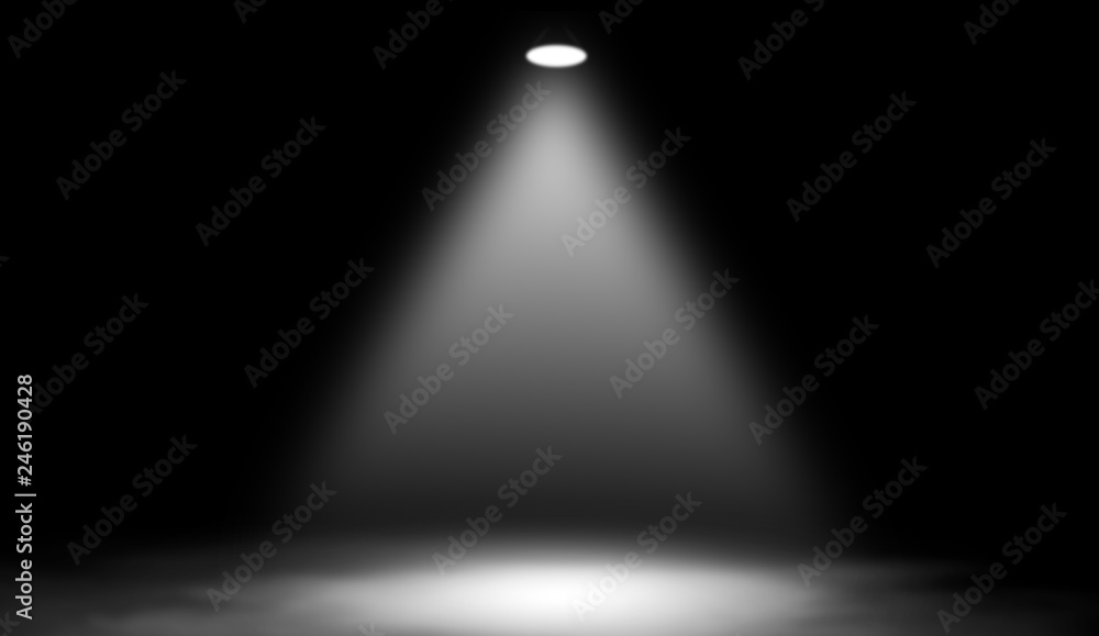 Fototapety, obrazy: White studio spotlight . Stage with smoke on the floor.