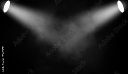 Fototapety, obrazy: White projector. Spotlight stage with smoke on black background.
