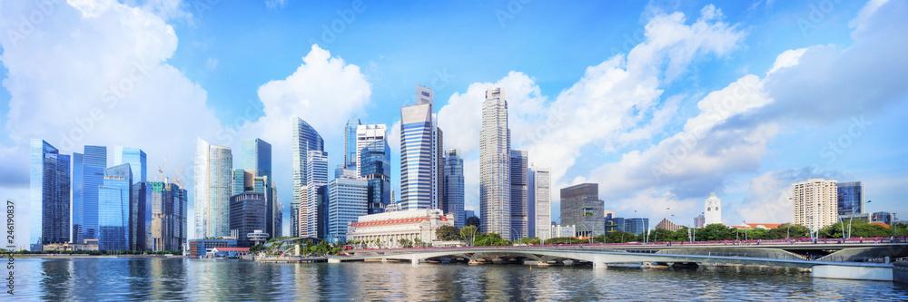 Fototapeta central Singapore skyline. Financial towers and Esplanade drive bridge