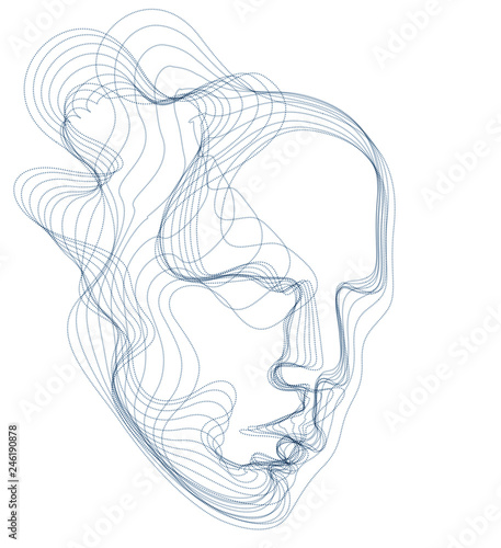 Carta da parati  Digital soul of machine, Artificial Intelligence software visualization of human head made of dotted particles flowing wave lines array