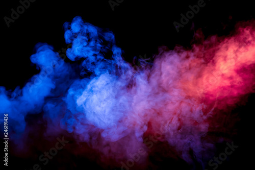 Fotobehang Rook Beautiful horizontal column of smoke in the neon bright light of blue pink and orange on a black background exhaled out of the vape.