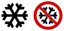 """Simple Black Snowflake Icon Meaning Winter / Cold / Freeze. Also Version In Red Circle Means """"do Not Refrigerate"""""""