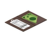 Leather Folder For Cash, Coins And Cashier Check. Thanks For The Service In The Restaurant. Vector Illustration