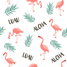Seamless Vector Pattern With Flamingos And Leaves