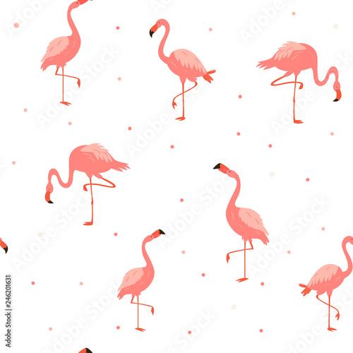 Canvas Prints Flamingo Bird Seamless hawaiian pattern with pink flamingos