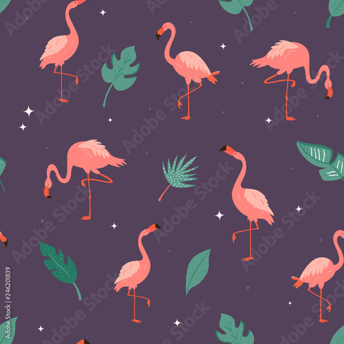 Canvas Prints Flamingo Bird Seamless vector pattern with flamingos and leaves