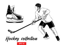 Vector Engraved Style Illustration For Posters, Decoration And Print. Hand Drawn Set Of Sketches Of Ice Skate And Hockey Player With Hockey Stick In Black Isolated On White Background