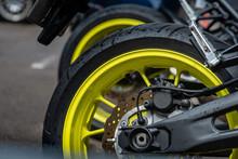 Closeup Detail Of Motorcycle Rear Wheels And Brake Disc - Image