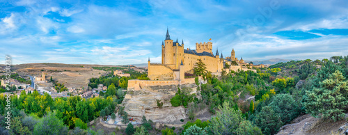 Sunset view of Alcazar de Segovia in Spain