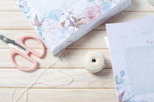 Book Binding. Thread And Pages. Handmade Coptic Binding. Scrapbooking. Copy Space