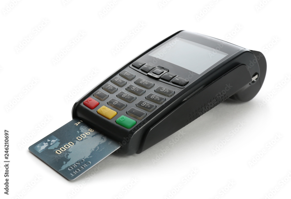 Fototapeta Modern payment terminal with credit card on white background. Space for text