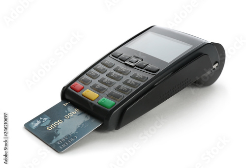 Modern payment terminal with credit card on white background Wallpaper Mural