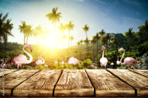 Tuinposter Zwavel geel Wooden table background of free space and summer landscape