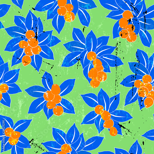 seamless pattern background, with blue leaves, strokes and splashes