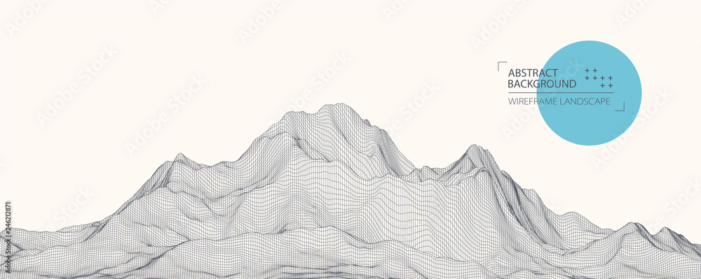 Fototapety, obrazy: Wireframe landscape background. Futuristic vector illustration.