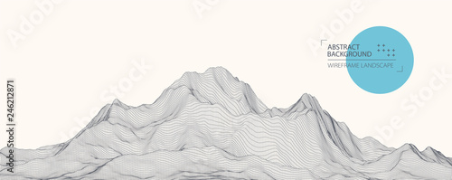 Wireframe landscape background. Futuristic vector illustration. Tablou Canvas