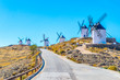 Traditional white windmills at Consuegra in Spain