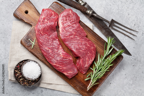 Raw top blade or denver steak