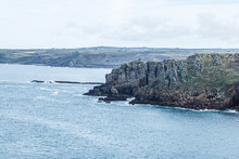 Top View, Floor, Rocky Coastline With Different Protrusions; Rocky Shore Where Only The Grass Grows