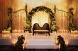 Leinwanddruck Bild - Black sofa for Hindu wedding creremony stands on the stage