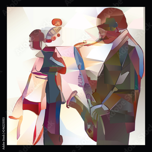 Deurstickers Art Studio Jazz with saxophone and double-bass