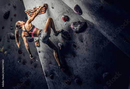Fotografija Young sporty woman climbing artificial boulder indoors.