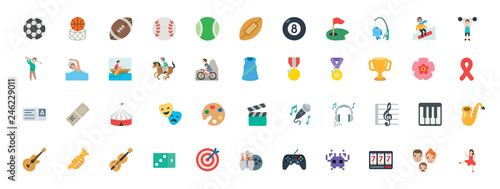 Fototapeta Sports, music instruments, games vector illustration symbols set. All type of balls, activities icons, emoticons set, collection. obraz
