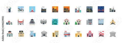 Buildings construction, hospital, school, monuments, church, stadium vector symbols. Buildings, landmarks illustration icons, emoji, emoticons set, collection.