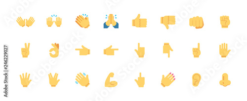 Hand gestures vector icons set. All type of hand emojis, emoticons, thumbs up, down, arm, elbow, gym, muscle, nail illustrations set, collection