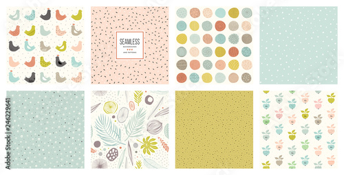 plakat Creative seamless patterns and prints set. For fashion kid's wear, T-shirts, posters, cards, scrapbooking, birthday and party invitations.