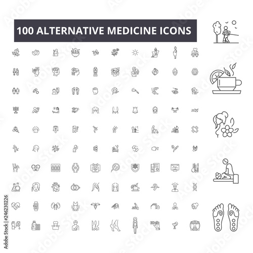 Fotografie, Obraz  Alternative medicine editable line icons, 100 vector set on white background