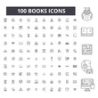 Books editable line icons, 100 vector set on white background. Books black outline illustrations, signs, symbols
