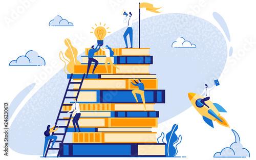 Fotografie, Obraz Businessman on Books Education and Leadership.