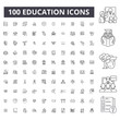 Education editable line icons, 100 vector set on white background. Education black outline illustrations, signs, symbols